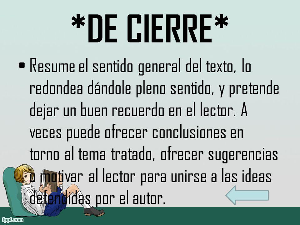 *DE CIERRE*