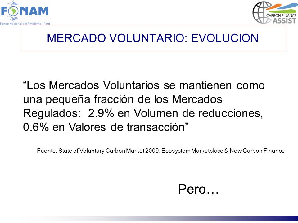 MERCADO VOLUNTARIO: EVOLUCION