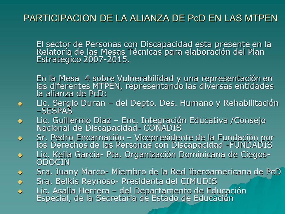 PARTICIPACION DE LA ALIANZA DE PcD EN LAS MTPEN