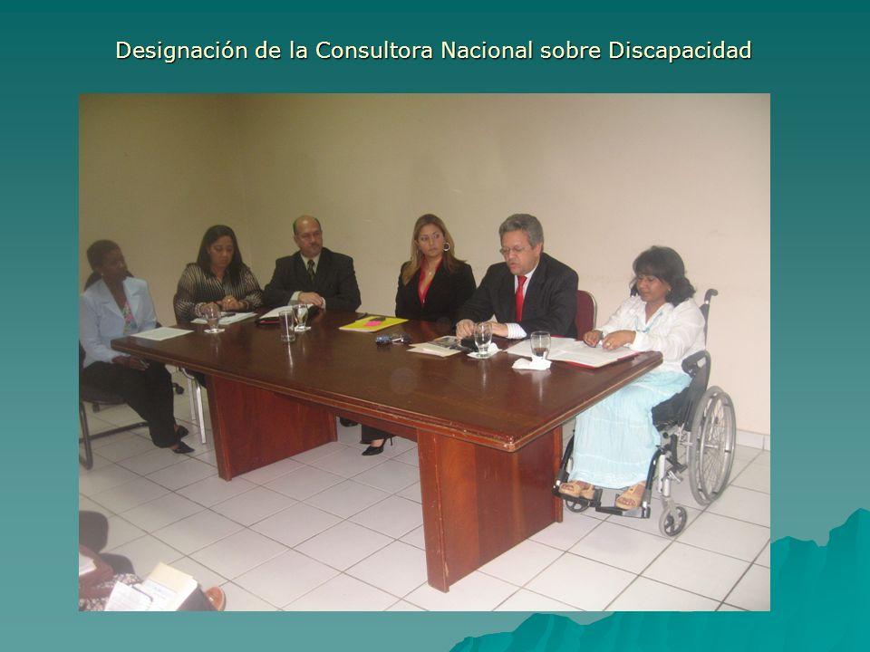 Designación de la Consultora Nacional sobre Discapacidad