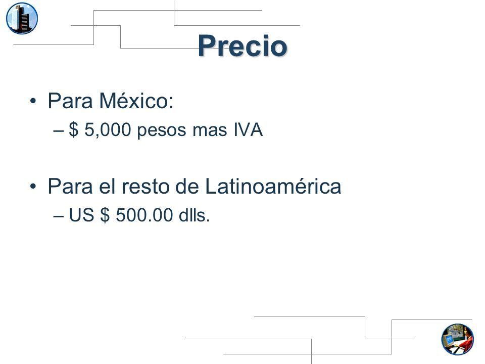 Precio Para México: Para el resto de Latinoamérica