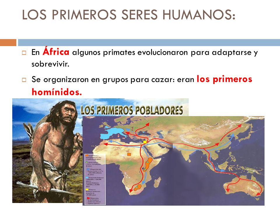 LOS PRIMEROS SERES HUMANOS: