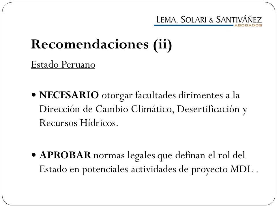 Recomendaciones (ii) Estado Peruano
