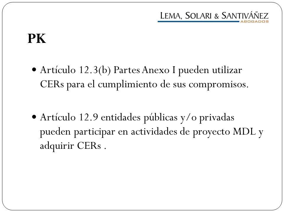 PK Artículo 12.3(b) Partes Anexo I pueden utilizar CERs para el cumplimiento de sus compromisos.