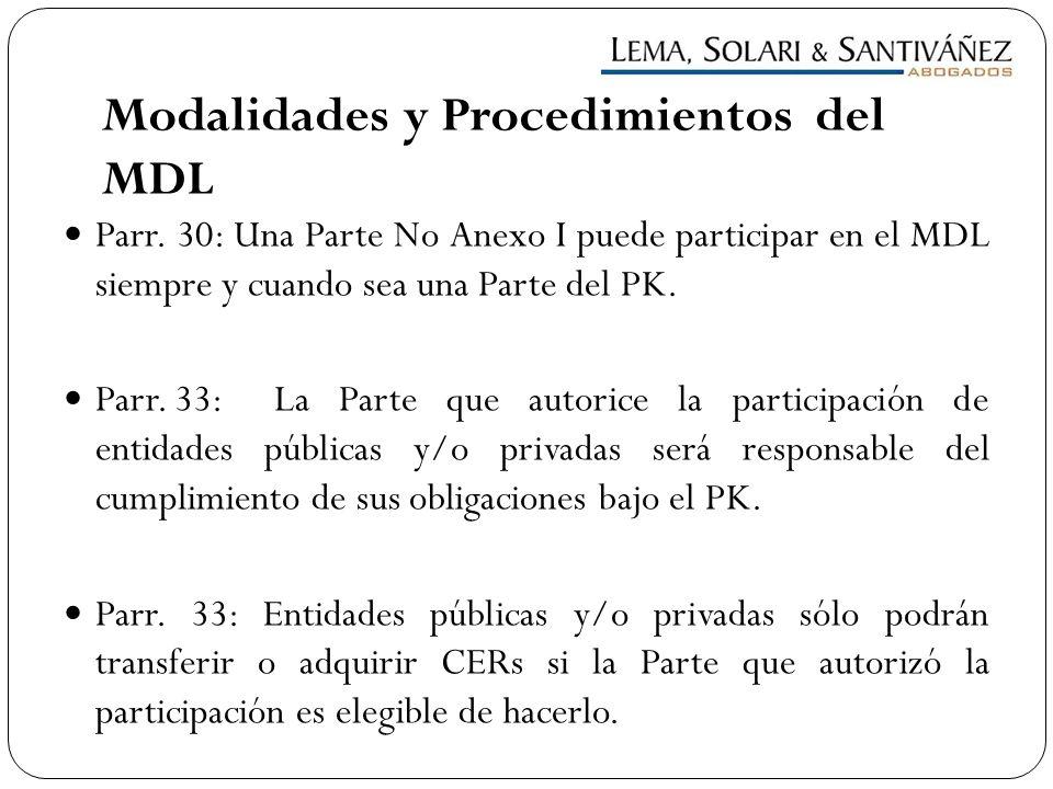 Modalidades y Procedimientos del MDL