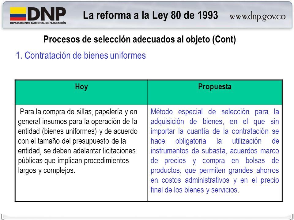 La reforma a la Ley 80 de 1993 Procesos de selección adecuados al objeto (Cont) 1. Contratación de bienes uniformes.