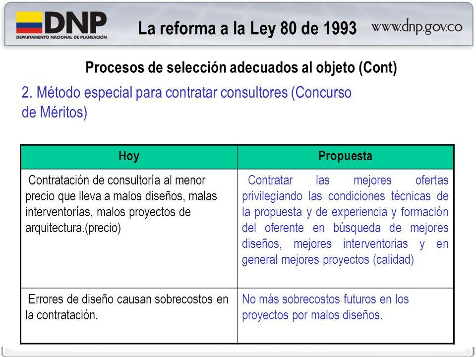La reforma a la Ley 80 de 1993 Procesos de selección adecuados al objeto (Cont) 2. Método especial para contratar consultores (Concurso de Méritos)