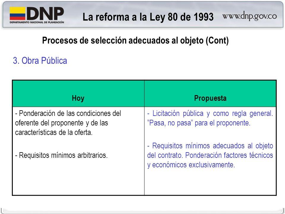 La reforma a la Ley 80 de 1993 Procesos de selección adecuados al objeto (Cont) 3. Obra Pública. Hoy.