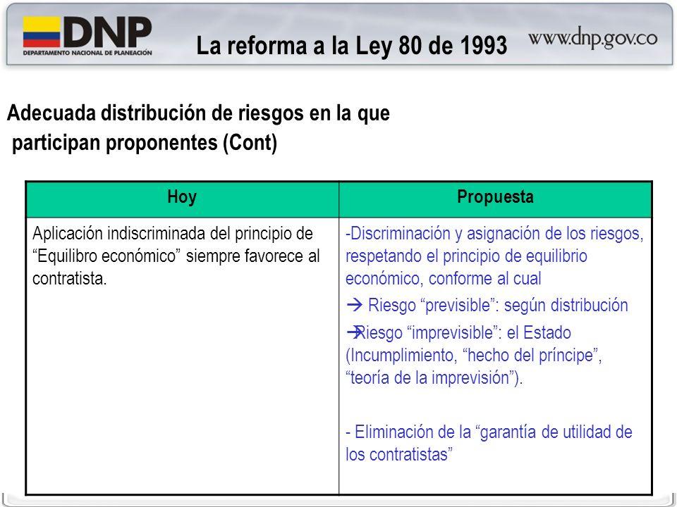La reforma a la Ley 80 de 1993Adecuada distribución de riesgos en la que. participan proponentes (Cont)