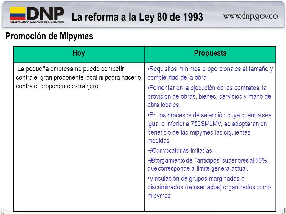La reforma a la Ley 80 de 1993 Promoción de Mipymes Hoy Propuesta