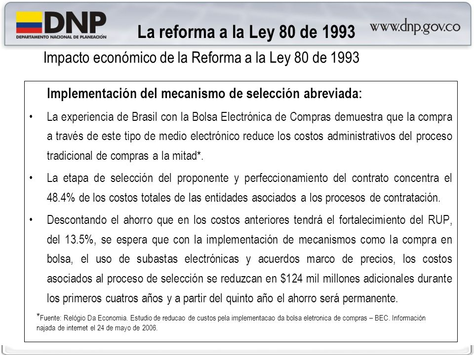 Impacto económico de la Reforma a la Ley 80 de 1993
