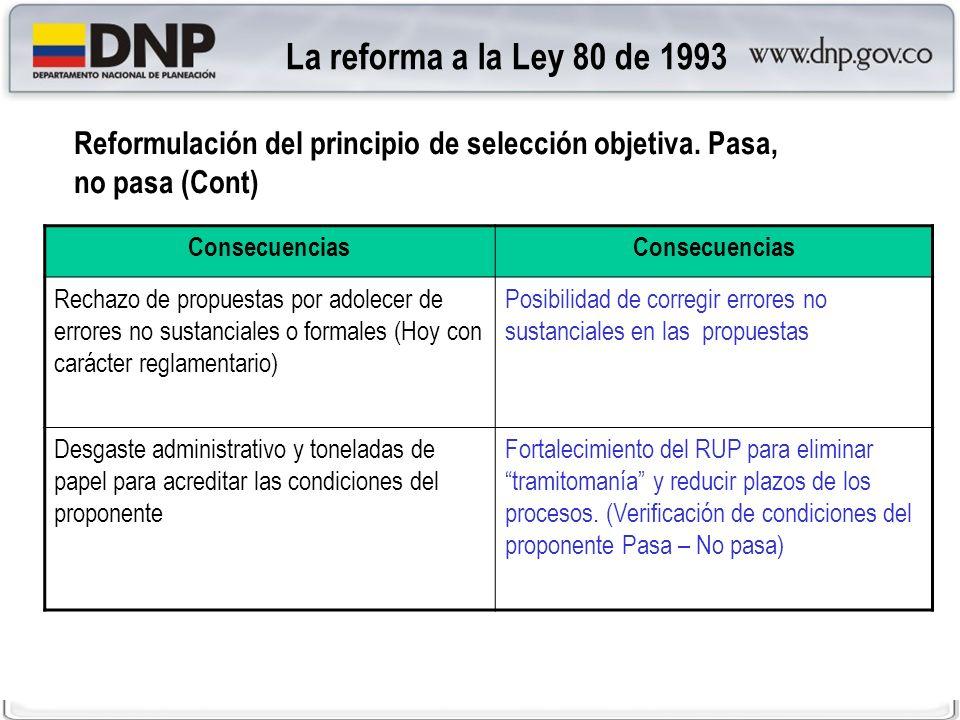 La reforma a la Ley 80 de 1993 Reformulación del principio de selección objetiva. Pasa, no pasa (Cont)
