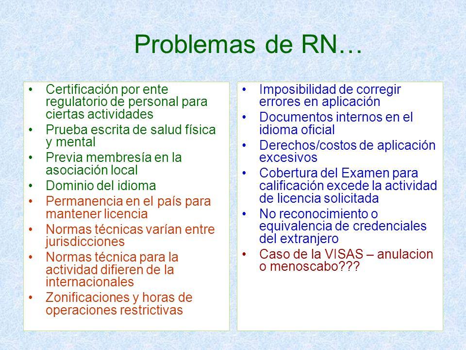 Problemas de RN…Certificación por ente regulatorio de personal para ciertas actividades. Prueba escrita de salud física y mental.