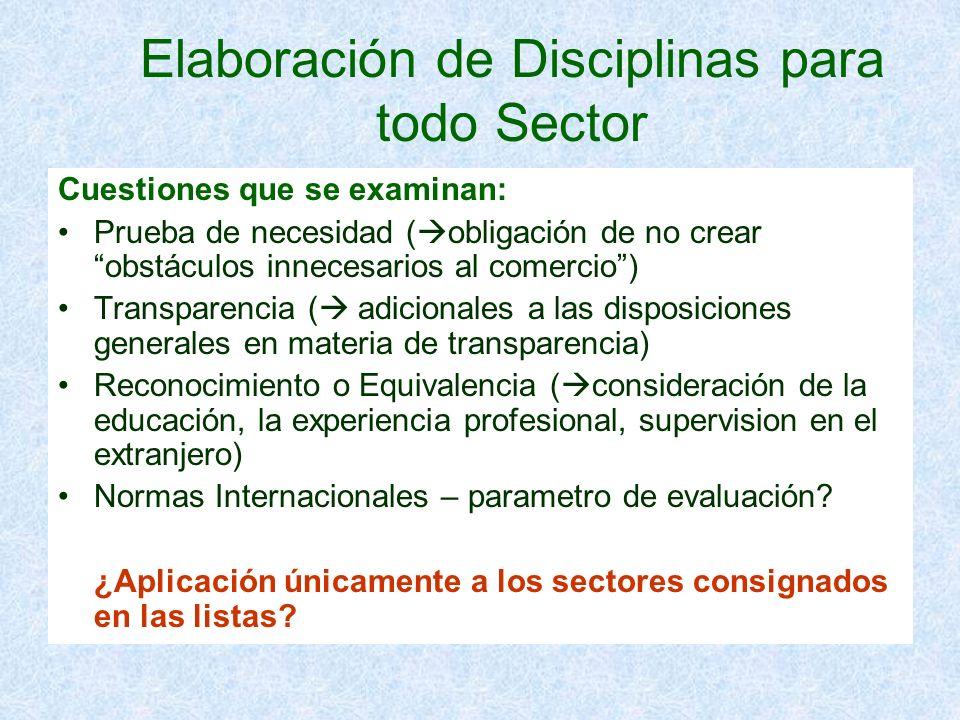 Elaboración de Disciplinas para todo Sector