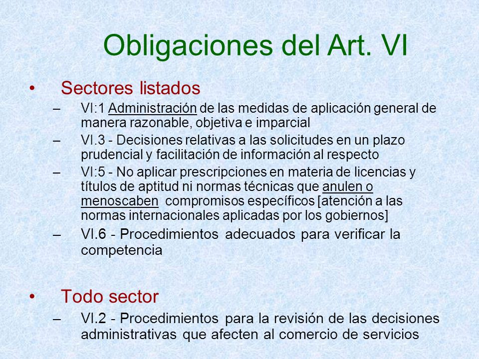 Obligaciones del Art. VI