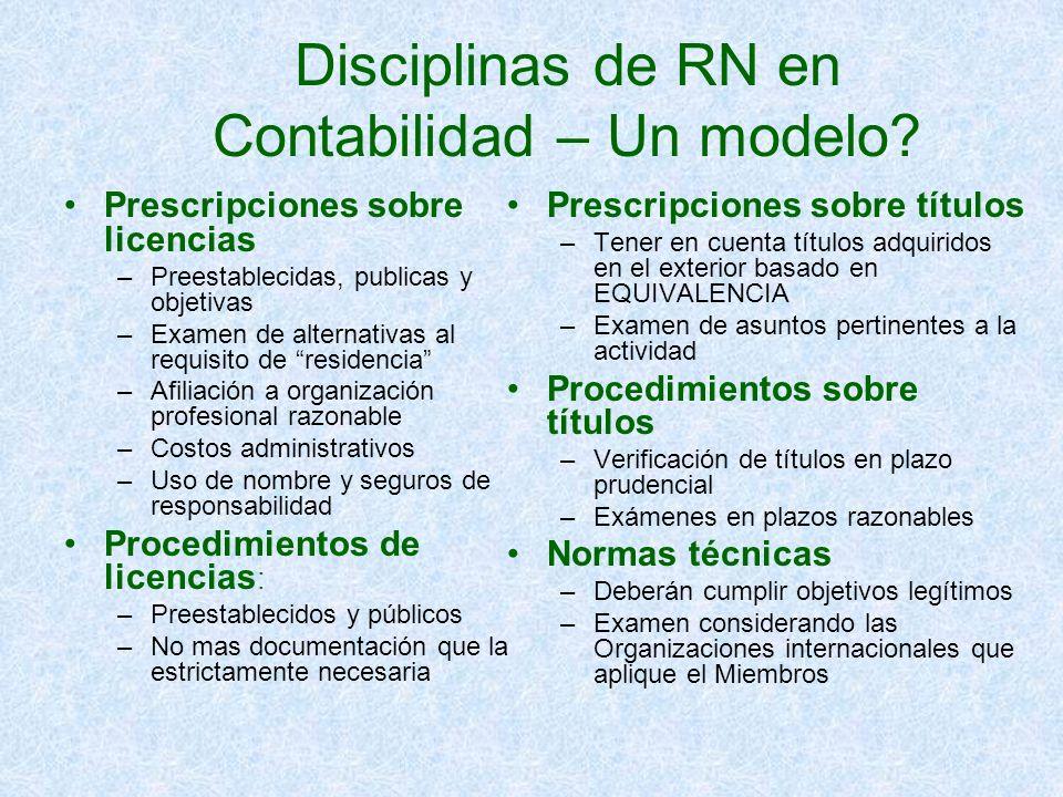 Disciplinas de RN en Contabilidad – Un modelo