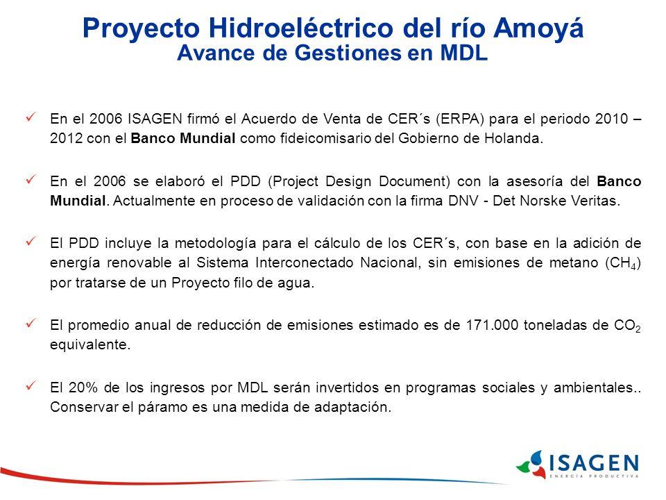 Proyecto Hidroeléctrico del río Amoyá Avance de Gestiones en MDL