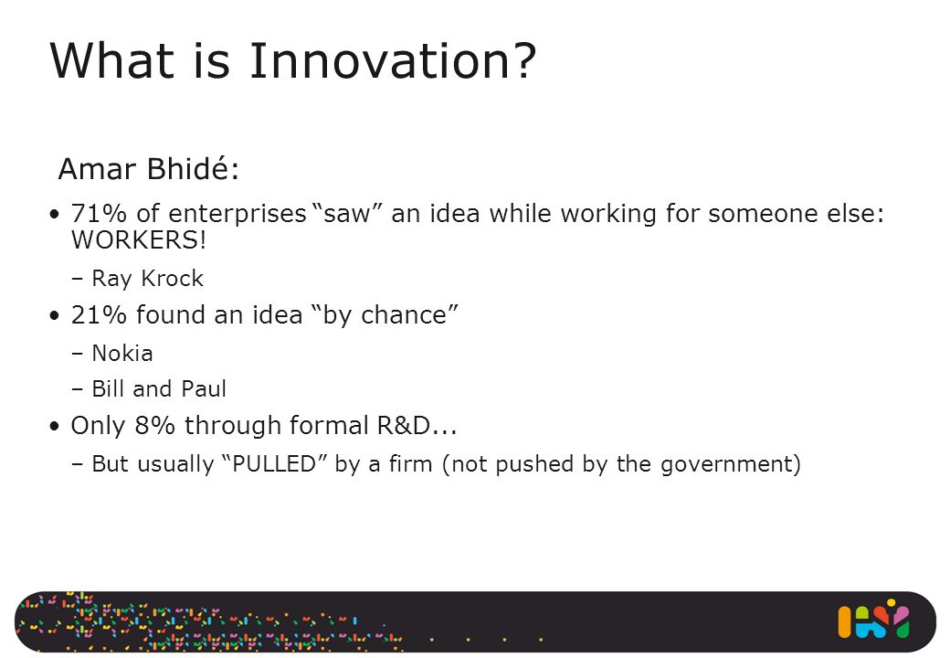 What is Innovation Amar Bhidé: