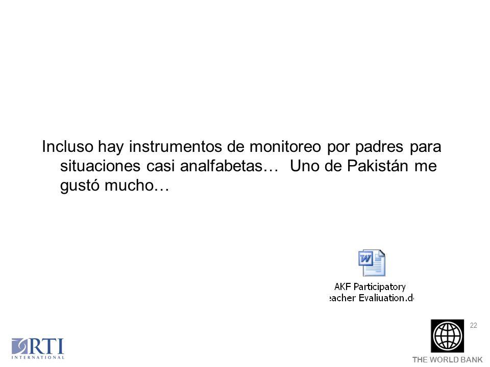 Incluso hay instrumentos de monitoreo por padres para situaciones casi analfabetas… Uno de Pakistán me gustó mucho…