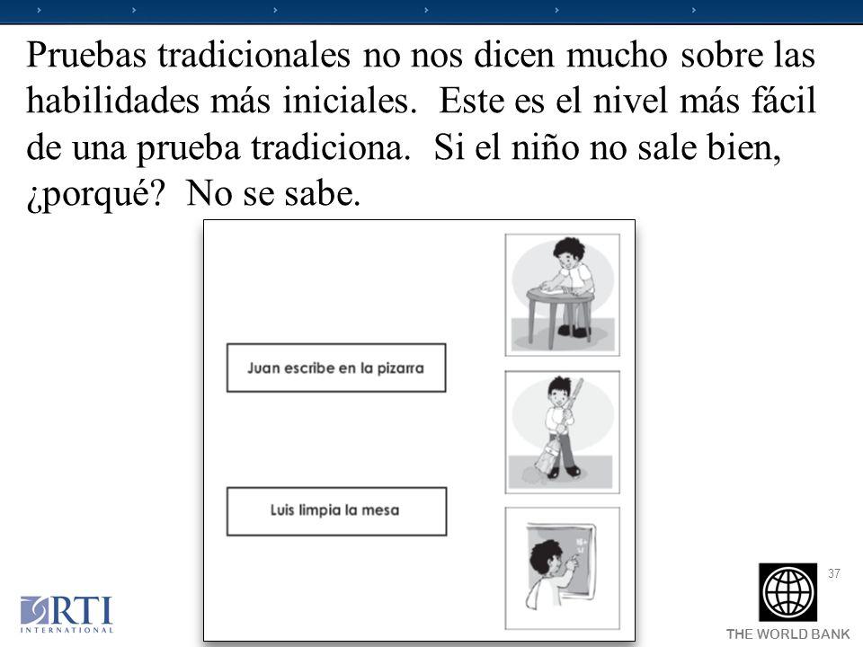Pruebas tradicionales no nos dicen mucho sobre las habilidades más iniciales. Este es el nivel más fácil de una prueba tradiciona. Si el niño no sale bien, ¿porqué No se sabe.
