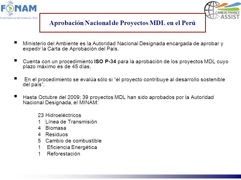 Aprobación Nacional de Proyectos MDL en el Perú