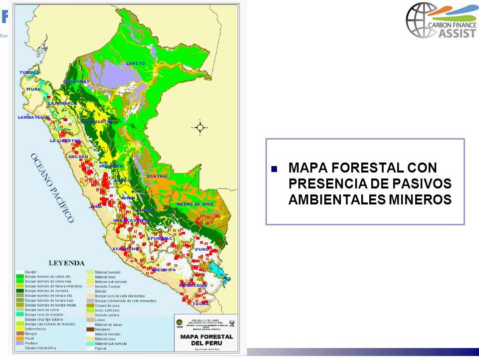 MAPA FORESTAL CON PRESENCIA DE PASIVOS AMBIENTALES MINEROS