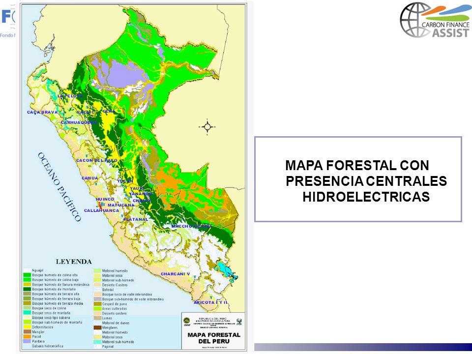 MAPA FORESTAL CON PRESENCIA CENTRALES HIDROELECTRICAS
