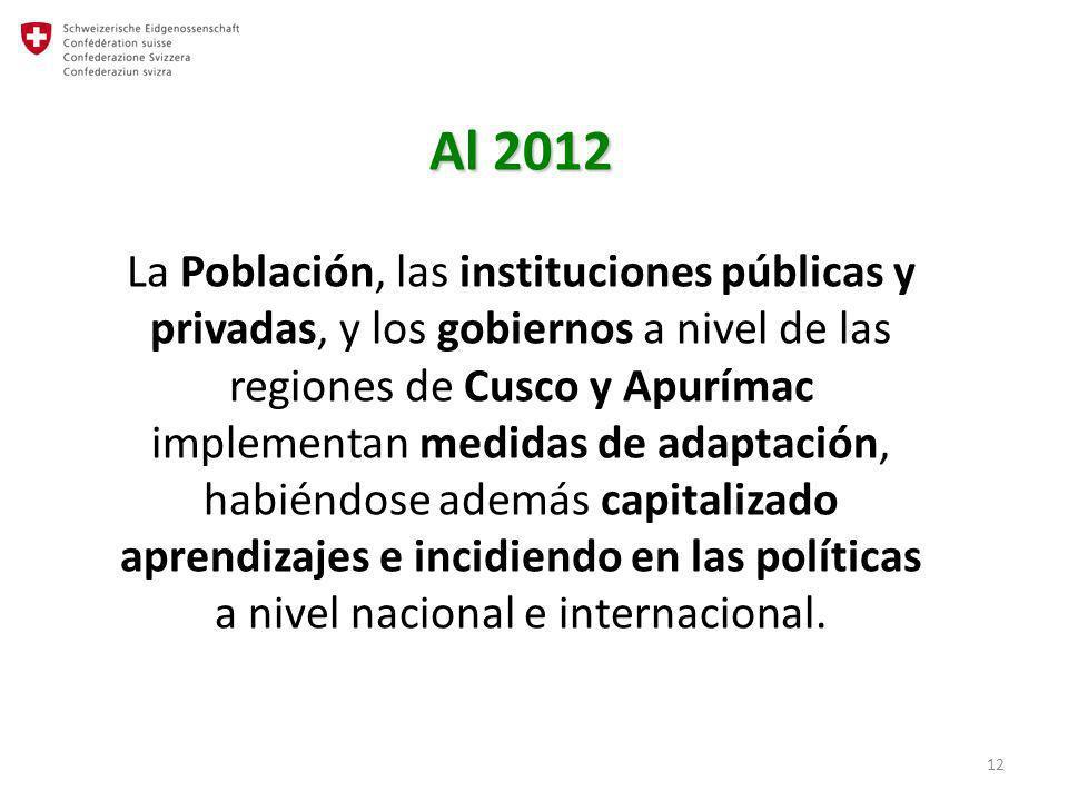 Al 2012 La Población, las instituciones públicas y privadas, y los gobiernos a nivel de las regiones de Cusco y Apurímac implementan medidas de adaptación, habiéndose además capitalizado aprendizajes e incidiendo en las políticas a nivel nacional e internacional.