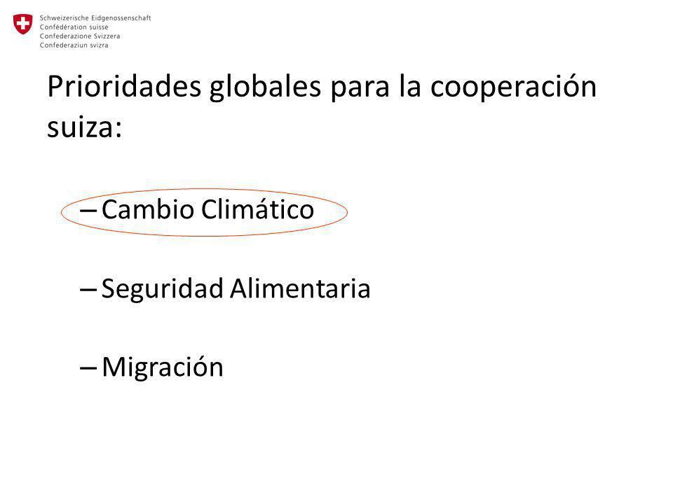 Prioridades globales para la cooperación suiza: