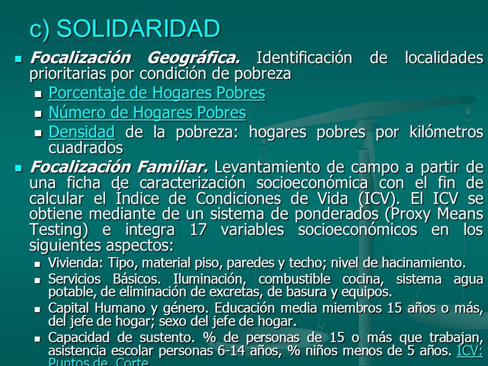 c) SOLIDARIDAD Focalización Geográfica. Identificación de localidades prioritarias por condición de pobreza.