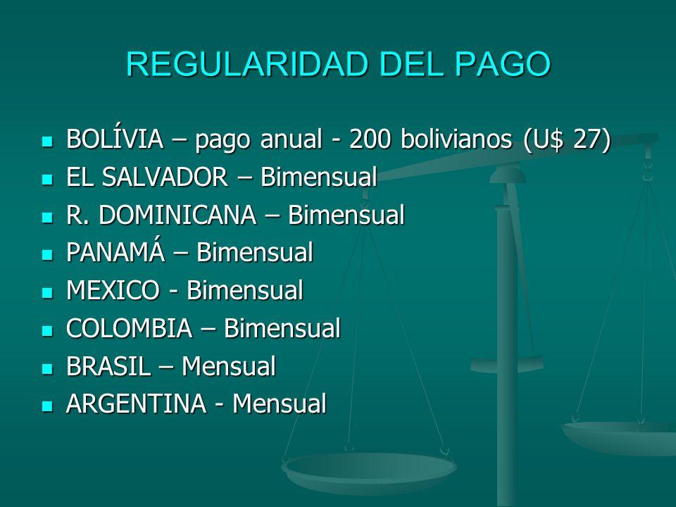 REGULARIDAD DEL PAGO BOLÍVIA – pago anual - 200 bolivianos (U$ 27)