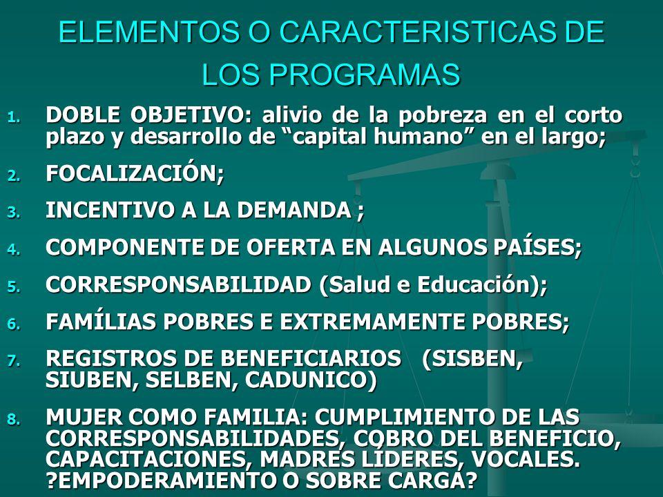 ELEMENTOS O CARACTERISTICAS DE LOS PROGRAMAS