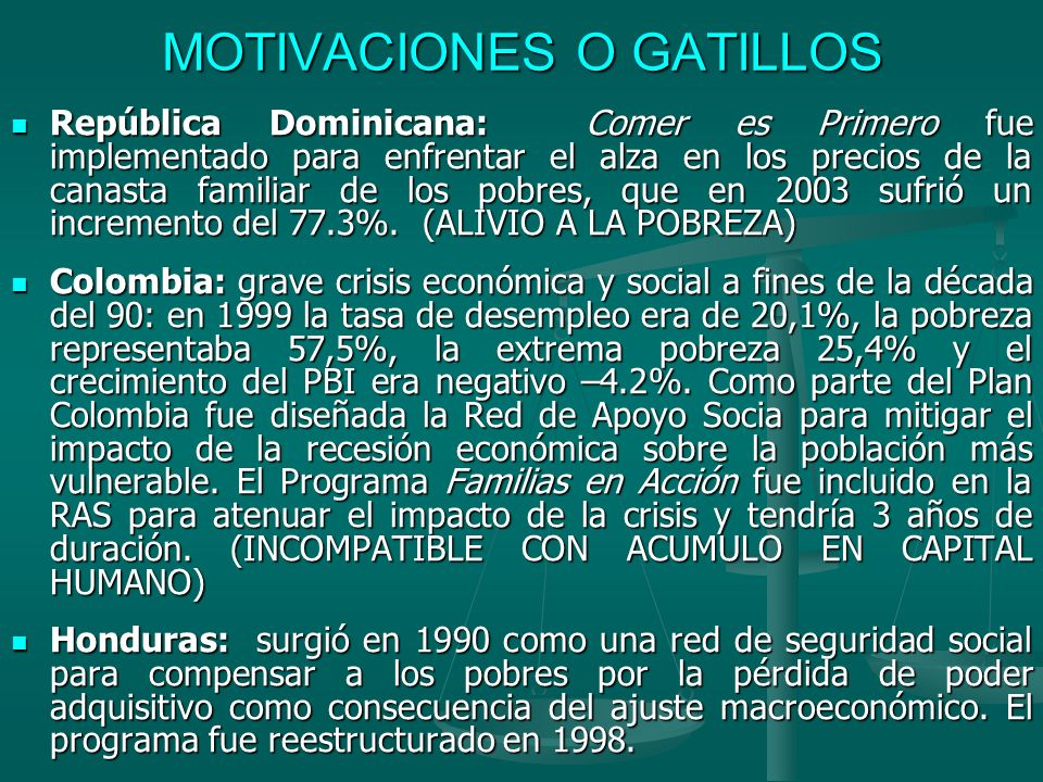 MOTIVACIONES O GATILLOS