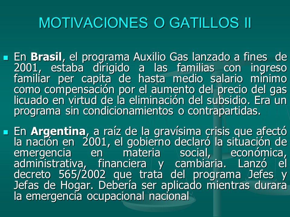 MOTIVACIONES O GATILLOS II