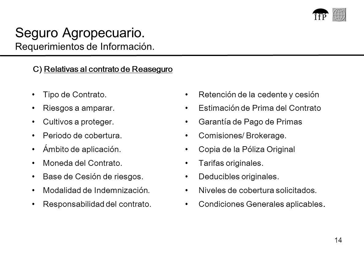 Seguro Agropecuario. Requerimientos de Información.