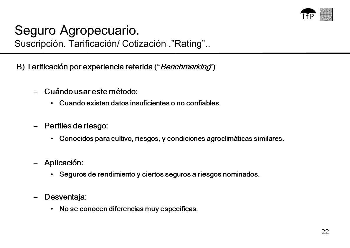 Seguro Agropecuario. Suscripción. Tarificación/ Cotización . Rating ..