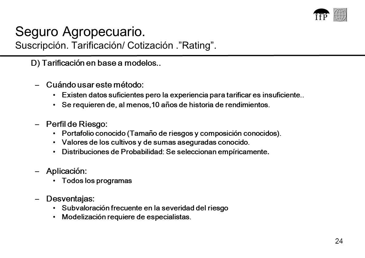 Seguro Agropecuario. Suscripción. Tarificación/ Cotización . Rating .