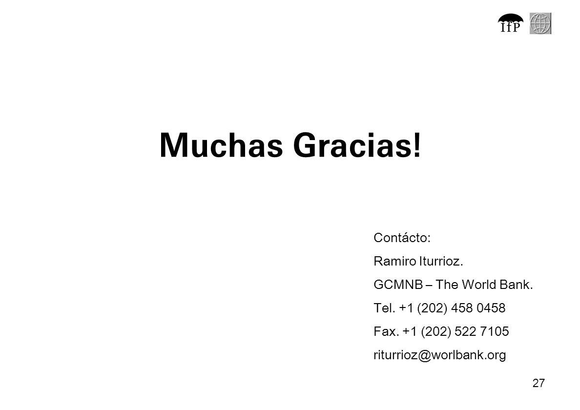 Muchas Gracias! Contácto: Ramiro Iturrioz. GCMNB – The World Bank.
