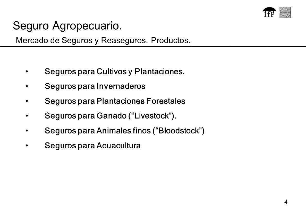 Seguro Agropecuario. Mercado de Seguros y Reaseguros. Productos.