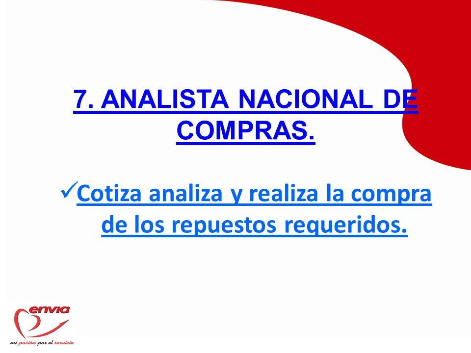 7. ANALISTA NACIONAL DE COMPRAS.