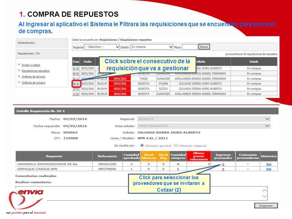 1. COMPRA DE REPUESTOS Al ingresar al aplicativo el Sistema le Filtrara las requisiciones que se encuentran para proceso de compras.