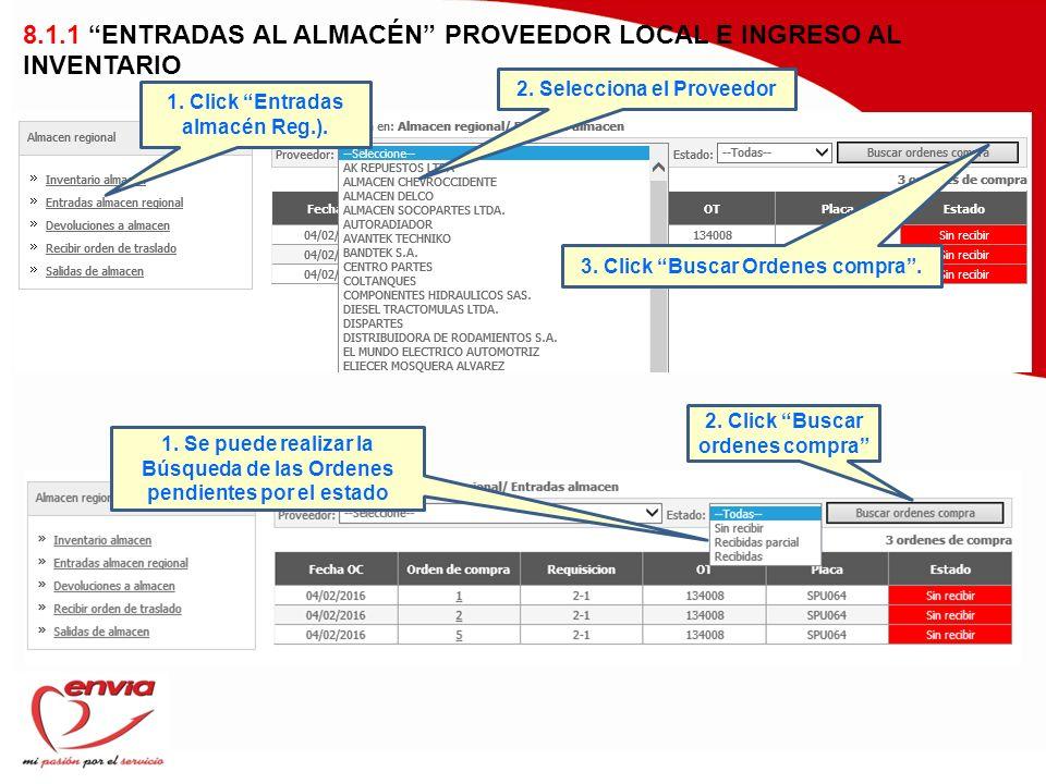 8.1.1 ENTRADAS AL ALMACÉN PROVEEDOR LOCAL E INGRESO AL INVENTARIO