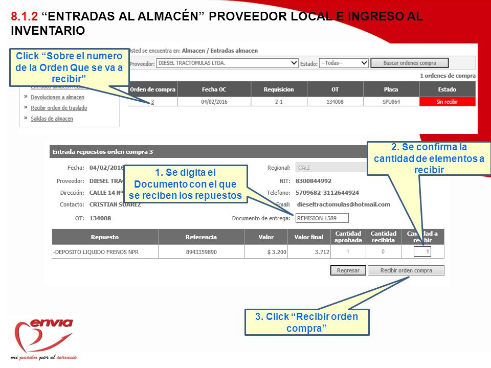 8.1.2 ENTRADAS AL ALMACÉN PROVEEDOR LOCAL E INGRESO AL INVENTARIO