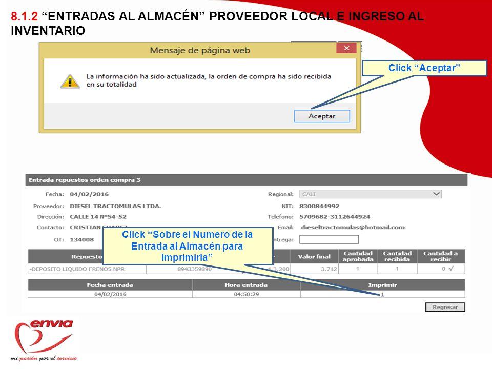 Click Sobre el Numero de la Entrada al Almacén para Imprimirla