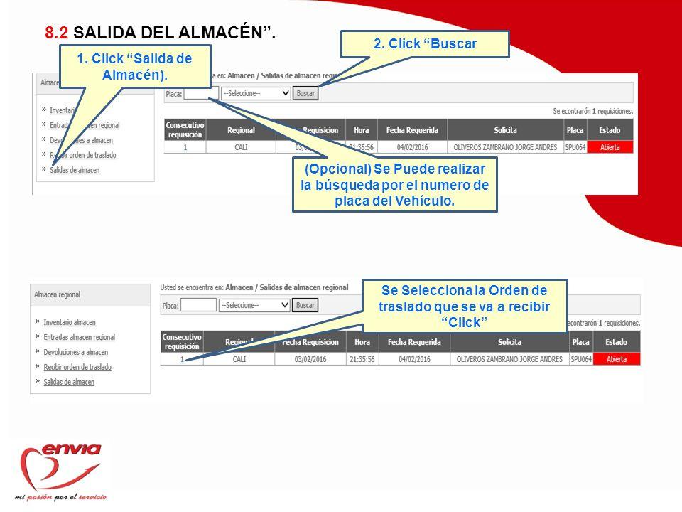 8.2 SALIDA DEL ALMACÉN . 2. Click Buscar