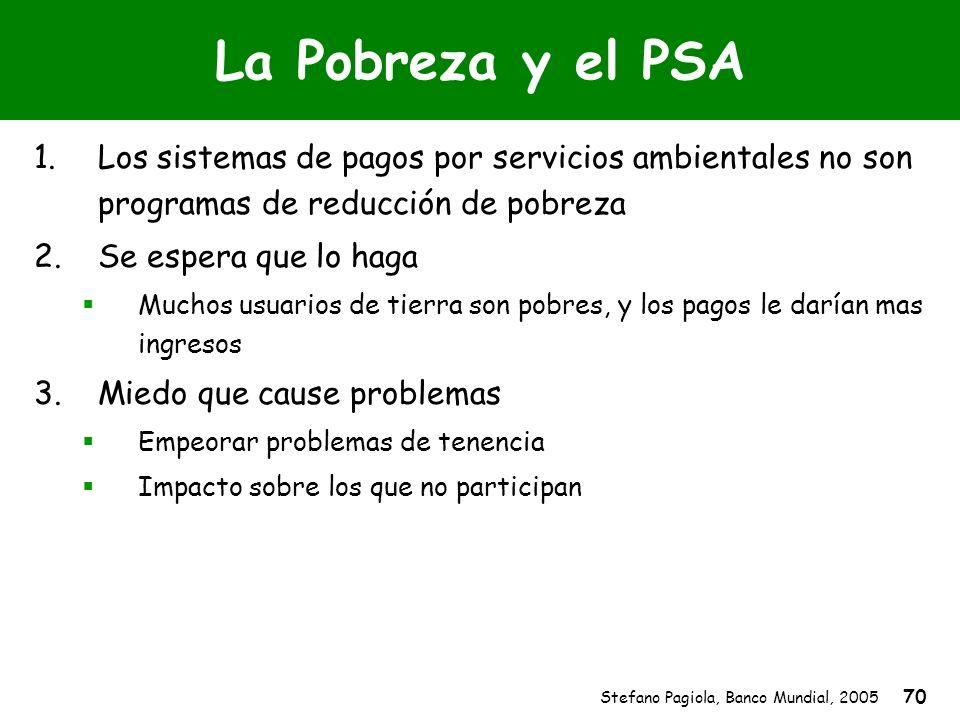 La Pobreza y el PSALos sistemas de pagos por servicios ambientales no son programas de reducción de pobreza.