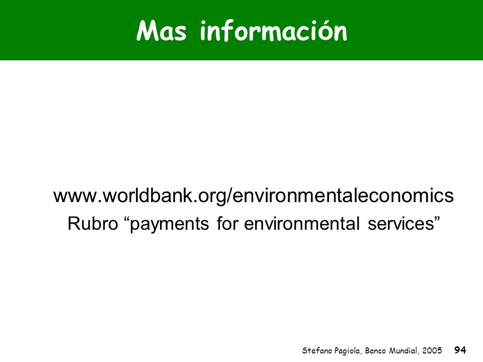 Rubro payments for environmental services