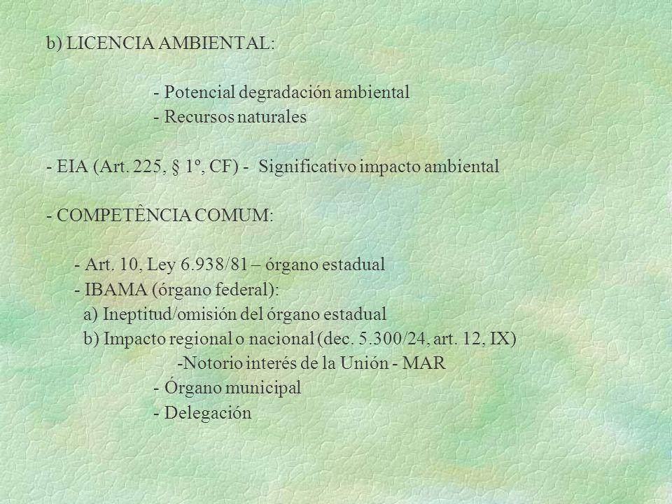 b) LICENCIA AMBIENTAL: