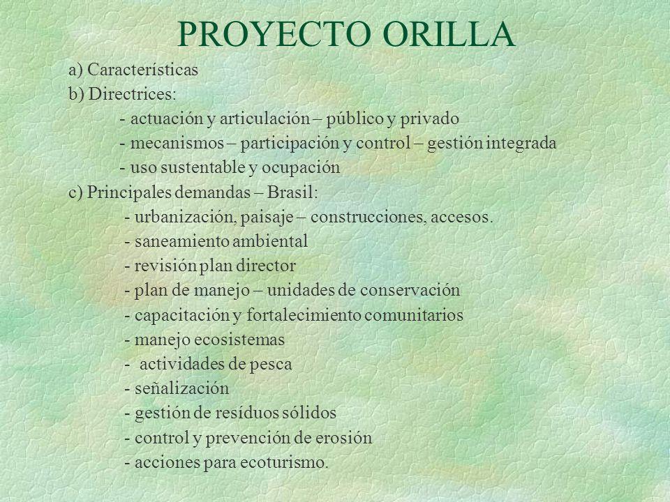 PROYECTO ORILLA a) Características b) Directrices: