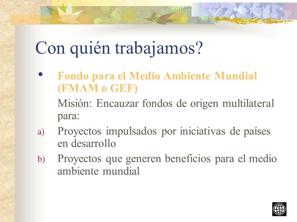 Con quién trabajamos Fondo para el Medio Ambiente Mundial (FMAM o GEF) Misión: Encauzar fondos de origen multilateral para: